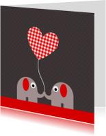 Olifantjes met geruit hartjesballon