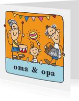 Oma en opa felicitatiekaart met kleinkind en muziek