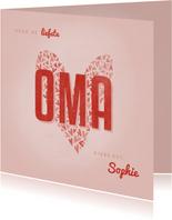 Oma kaartje OMA met hart en naam