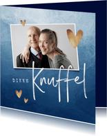 Opa en of oma kaart dikke knuffel stijlvol blauw hartjes