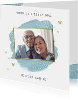 Opa en of oma kaart stijlvol hartjes foto goud waterverf