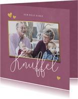 Opa en oma kaart dikke knuffel met foto en hartjes