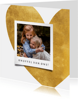 Opa en oma kaart gouden hart met foto
