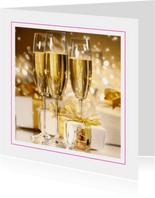Opening kaart met champagne en cadeaus