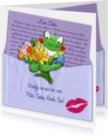 Opkikkertje met brief en bloemen