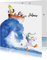 origineel geboortekaartje zee winter
