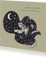 Originele illustratie met een knuffelende octopus en quote