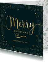 Originele kerstkaart donker groen Merry goud