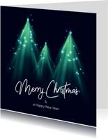 Originele kerstkaart met kerstbomen en lichtjes