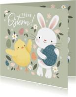 Ostergrußkarte Küken und Osterhase