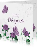 Ostergrußkarte lila Klee & Schmetterlinge
