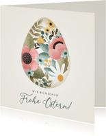 Ostergrußkarte Osterei mit Blumen
