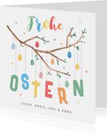 Osterkarte bunter Osterzweig