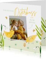 Osterkarte Foto und Küken mit Hasenohren