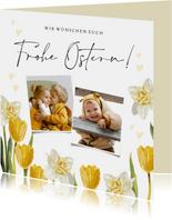Osterkarte Fotos, Tulpen und Narzissen