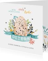 Osterkarte Osterei mit Tupfen