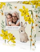 Osterkarte Osterglocken und Osterhase