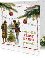Ouderwetse kerstboom markt oergezellig