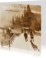 Oudhollandse kerstkaart met wintertafereel