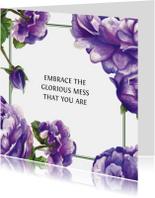 Paarse Bloemen Met Quote