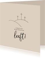 Paaskaart christelijk met kruis mijn verlosser leeft