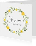 Paaskaart christelijke quote met voorjaarskrans