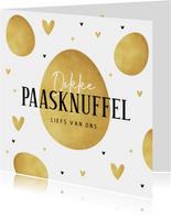 Paaskaart dikke paasknuffel goud eieren stijlvol hartjes
