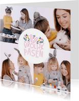 Paaskaart fotocollage vrolijk pasen met oortjes