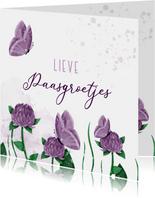 Paaskaart groetjes bloemen met vlinders