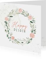 Paaskaart Happy Pesach met bloemenkrans