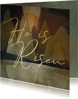 Paaskaart He is Risen geschilderd landschap