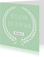 """Paaskaart """"He is risen"""" religieuze tekst"""