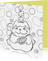Paaskaarten - Paaskaart kleurplaat kat kuikens