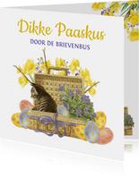 Paaskaart lief katje stuurt paaskus door de brievenbus