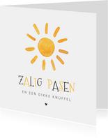 Paaskaart met een zon en zalig pasen