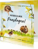 Paaskaart met vrolijke eendjes