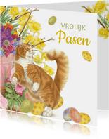 Paaskaart spelende rode kat met paaseitjes en bloemen
