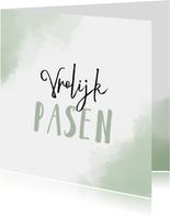 Paaskaart Vrolijk Pasen met mint-groene achtergrond