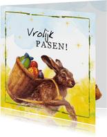 Paaskaarten - Paaskaart  - vrolijke paashaas met mand gevuld met eieren