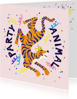 Party animal verjaardagskaart met tijger en slingers