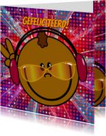 Verjaardagskaarten - PARTY bruine DJ smiley DISCO
