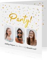 Partyeinladung drei Fotos und Konfetti