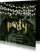 Partyeinladung Dschungel und Lichterkette