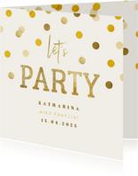 Partyeinladung Goldene Konfetti