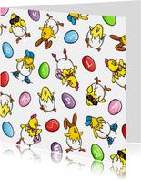 Pasen Vrolijke Kuikens met kleurplaat