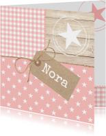 Geboortekaartjes - Pastel Hout Sterren Nora