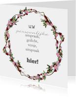 Beterschapskaarten - Persoonlijke bloemenkrans roze