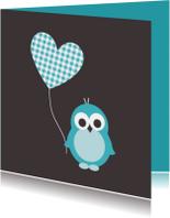 Felicitatiekaarten - Pinguïn met hartjesballon