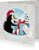 Pinguïn met kerstmuts en ijsblokje