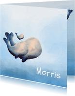 Prachtig geboortekaartje met waterverf en walvis gezin